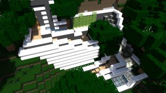 Back minecraft modern cities enter mineraft house Wallpaper