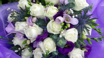 Bouquet flowers purple roses white wallpaper