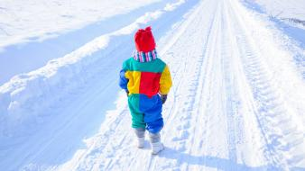 Children little girl roads snow winter wallpaper