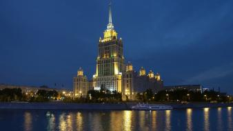 Cityscapes buildings moscow reflections wallpaper