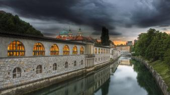 Cityscapes buildings slovenia reflections ljubljana wallpaper