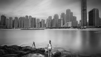 Cityscapes grayscale long exposure Wallpaper
