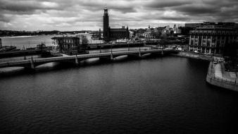 Cityscapes sweden monochrome wallpaper