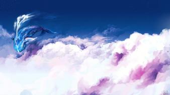 Clouds whales scenic artwork sky original content wallpaper