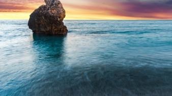 Coast waves rocks greece hdr photography sea wallpaper