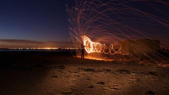 Evening spiral steel wool time lapse wallpaper