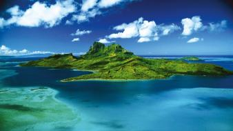 French polynesia tahiti beaches blue clouds wallpaper