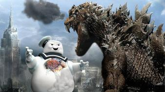 Godzilla stay puft marshmallow man vs. mechagodzilla Wallpaper