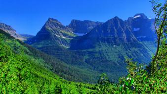 Green blue mountains landscapes nature snow forests summer wallpaper