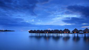Horizon houses nightlights reflections water body wallpaper