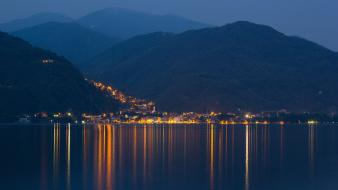 Lights hills town italy lakes reflections evening wallpaper