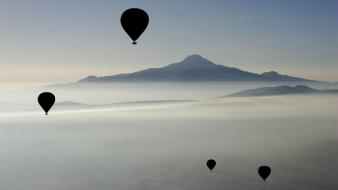 Mountains landscapes nature hot air balloons wallpaper