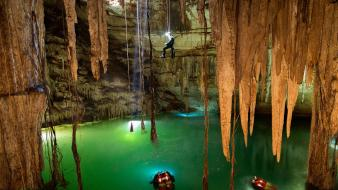 National geographic cave cenote climbing light Wallpaper