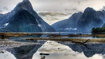 National park new zealand clouds fjord forests wallpaper