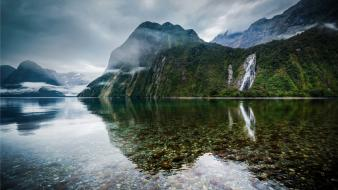New zealand falls landscapes mist mountains wallpaper