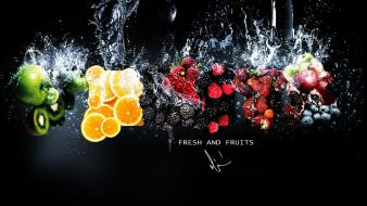 Oranges strawberries apples black background splashes kiwi Wallpaper