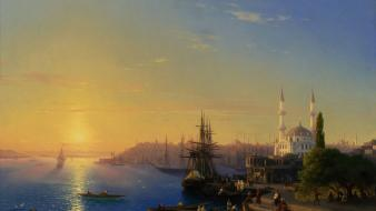 Ships turkey artwork istanbul port fan art sea wallpaper