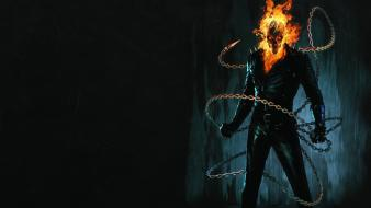 Skulls fire ghost rider fantasy art chains wallpaper