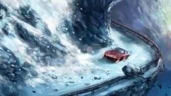 Snow cars digital art avalanche wallpaper