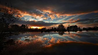 Sunset clouds landscapes nature lakes skies wallpaper