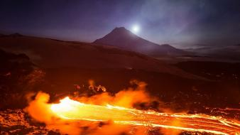 Sunset mountains landscapes night volcanoes lava russia magma wallpaper