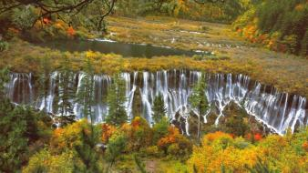 Water landscapes nature trees autumn forests waterfalls lagoon wallpaper