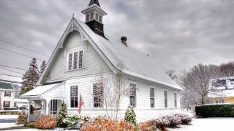 Winter architecture church hdr photography wallpaper