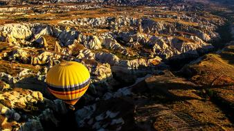 Aerial view hot air balloons landscapes mountains wallpaper