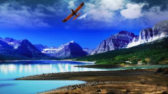 Aircraft trees flying lakes reflections blue skies wallpaper