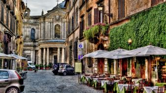 Alley cafe italy roma architecture Wallpaper