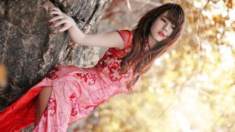 Asians blurred background kimono long hair wallpaper