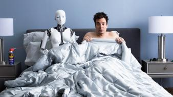 Bedroom beds funny jimmy fallon men Wallpaper