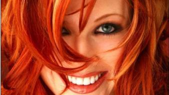 Blue eyes hair in face play red redhead wallpaper