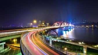 Bridges highways roads cities night time wallpaper
