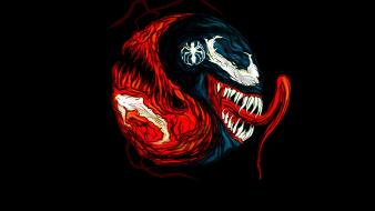Carnage marvel comics venom black background fan art wallpaper