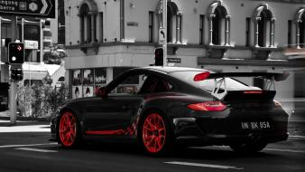 Cars grayscale cities porsche 911 gt3 rs taillights wallpaper