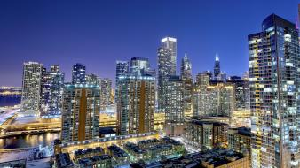 Chicago cityscapes dawn lights wallpaper