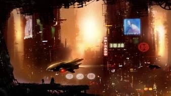 Cityscapes futuristic fog cyberpunk digital art concept sci-fi wallpaper