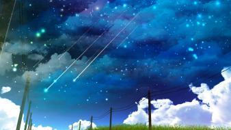 Clouds falling stars grass landscapes power lines wallpaper