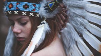 Cosplay redheads feathers head dress Wallpaper