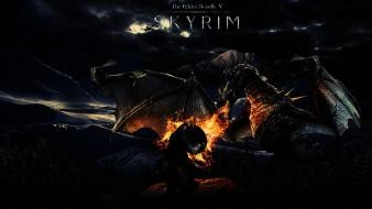Dragons fire the elder scrolls v: skyrim wallpaper