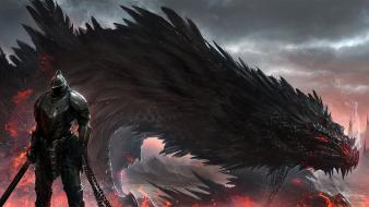 Fantasy art artwork dragon lord chains pet wallpaper