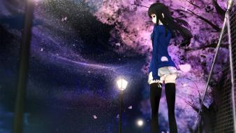 Fence looking back skies original characters kikivi wallpaper
