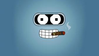 Futurama cartoons bender smoking wallpaper