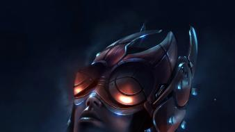 Futuristic helmet cyberpunk digital art artwork sci-fi wallpaper