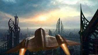 Futuristic spaceships science fiction cities sci-fi wallpaper