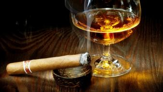 Glass wine with cigarette wallpaper