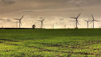 Grass green nature skies windmills wallpaper