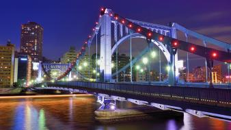 Japan tokyo cityscapes night bridges asia capital cities wallpaper