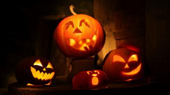 Lights halloween funny pumpkins wallpaper